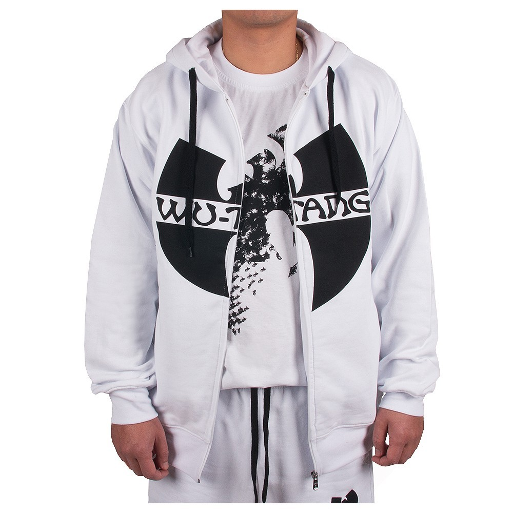 29f01fedb5 White Wu Wear hooded sweatshirt with black Wu Tang Clan logo on chest.  Quality sweatshirt with classic design.