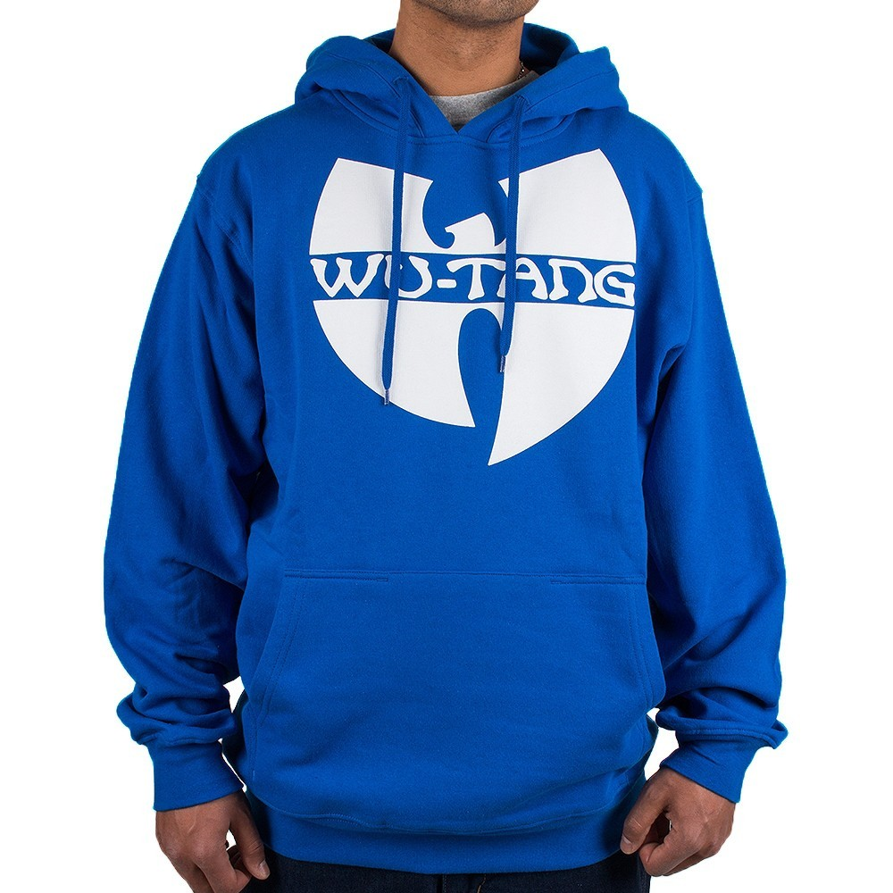 ab7e90532a Blue mens Wu Wear hooded sweatshirt with kangaroo pocket and white Wu Tang  Clan logo to the chest. New